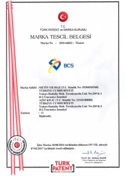 BCS MARKA TESCİL BELGESİ